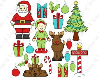 Santa's Helpers Christmas Hand Drawn Digital Clipart - Set of 19 - Santa, Elf, Reindeer, Rudolf - Instant Download - Item #9172