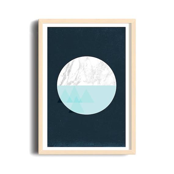 BLUE MOON // Mid Century Poster, 12x18, minimalist art print, geometric print, marble, abstract, art, moon, aqua, triangles