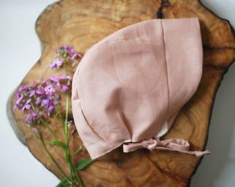 Linen Baby Bonnet | Pink Linen Bonnet | Pink Brimmed Bonnet | Linen Sun Bonnet | Pink Bonnet | Pink Baby Bonnet | Sun Hat | Baby Sun Hat