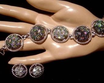 Vintage Sarah Coventry Bracelet Earrings Northern Lights 1973