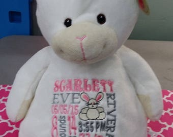 personalized baby gift, personalized plush, stuffed plush bunny, stuffed animal, rabbit, keepsake , toy, best baby gift