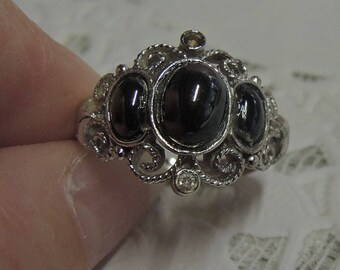 Avon Ring, Black Faux Onyx And Silver Tone