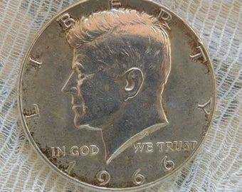 1966 Silver Kennedy Half Dollar Vintage Half Dollar Silver Coins Rare Coins Collectible Coins FREE Shipping