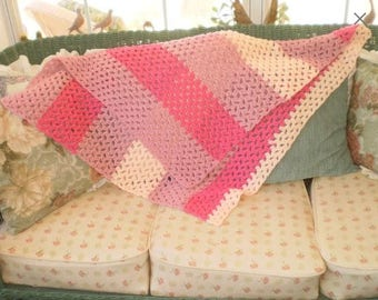 Vintage Hand Crocheted Afghan - Baby - Lap Size Throw - Pink shades - Made in 1970s but Never Used -GREAT GIFT