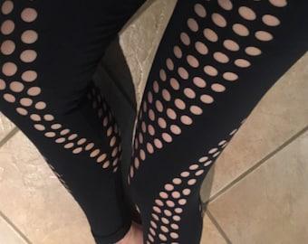 Laser Cut Leggings - Sacred Geometry - Acro Yoga - Original Design - Black