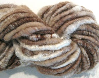 Bulky Handspun yarn Brown Birch 42 yards pink brown beige white yarn corespun yarn knitting supplies crochet supplies Waldorf doll hair