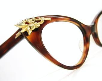 Vintage Cat eye Glasses Eyeglasses Sunglasses Frame with Gold Tone Flowers