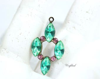 Vintage Dangle Set Stones Rhinestone Jewelry Finding Drop Charm Pendant Ox Antique Brass Setting 30x72mm Green & Light Pink - 1
