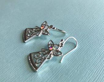 Crystal Silver Angel Earrings