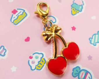 Cute Planner Charm ValentineTraveler's Journal Charms Valentine's Day Heart Charm Zipper Pull Bag Charm Cherry Hearts