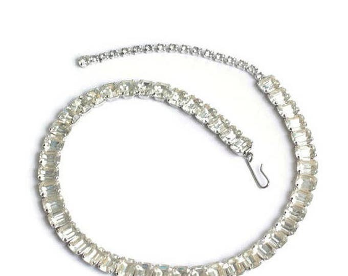 CIJ Sale Crystal Baguette Choker Necklace Wedding Bridal Vintage