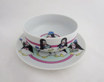 Vintage Child's Matching Bowl & Plate Set - Circus Penguins Plate and Bowl - Fine China Made in Japan c.1960s