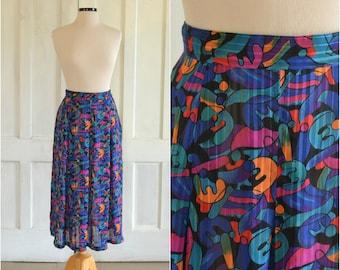80s Midi Skirt Sheer Abstract Print Skirt High Waist - 30 inch waist