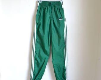 Adidas Wind Pants Green Running Pants - size Small