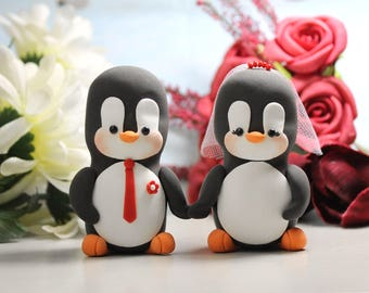 Unique wedding cake toppers Penguins holding hands - cute bride groom figurines custom cake toppers personalized custome cake topper for wed