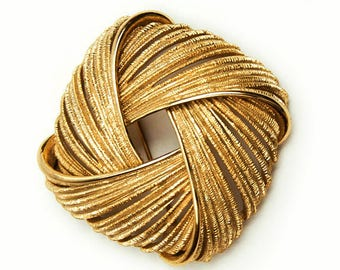 1970s MONET Textured Gold Tone Rope Brooch Vintage Pin Brooch High End Jewelry