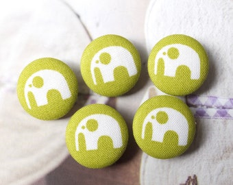 SALE-Geometry Geometric White Elephant On Green - Handmade Fabric Covered Buttons(0.87 Inches, 5PCS)