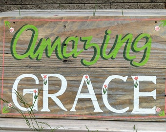Amazing Grace hand painted sign art on pallet wood spiritual