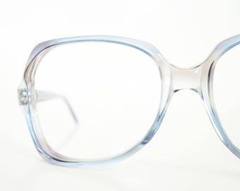 1970s Blue Eyeglasses Womens Boho Chic Glasses 70s Seventies Clear Sapphire Sky Bohemian Optical Frames German Germany Deadstock