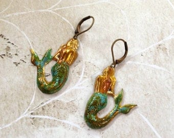 Beautiful Patina Brass Mermaids With Nubrass Earwires