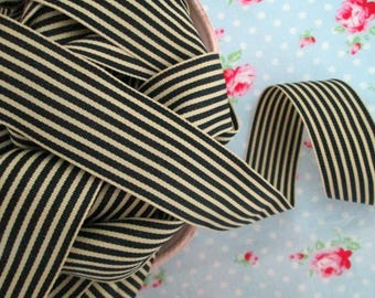 Striped Grosgrain Ribbon - Black and Ivory - 1 1/2 inch - 2 Yards