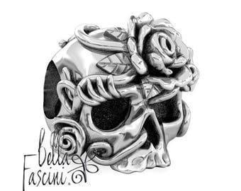 Sugar Skull Dia de los Muertos Bead Charm - Bella Rosa - 925 Silver - Fits Pandora and Compatible Brand Bracelets - BELLA FASCINI® F-117