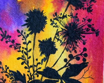 Original Botanical ACEO Silhouette Miniature Painting