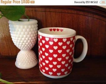 Christmas Sale Vintage 80s Mug HEARTS  Red FIB Korea Coffee Cup