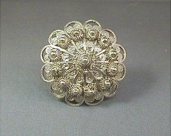 Victorian Silver Filigree Brooch