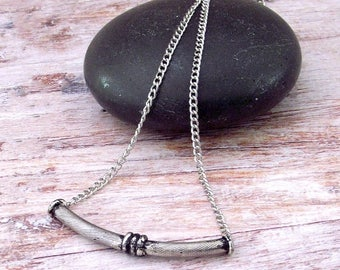 Silver Bar Layering Necklace - Curved Bar Necklace - Silver Bar Necklace - Bar Layering Necklace - Boho Bar Necklace - Layering Jewelry