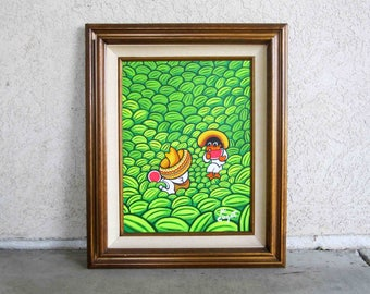"Vintage Xavier Cugat ""Siesta in the Watermelon Patch"" Acrylic Painting. Circa 1950's - 1960's."