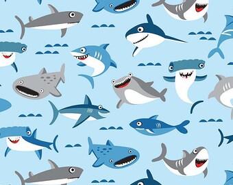 Riley Blake Fabric Sharktown Main in Blue, Choose your cut