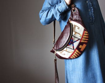 Traveler bag, Leather fanny pack, leather hip bag, eggplant leather, belt bag, travel pouch, festival fanny pack, travel hip bag, fanny pack