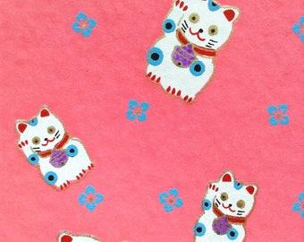Chiyogami Washi Japanese Paper Sheet 18x24 inches - Pink Lucky Cats - Maneki Neko