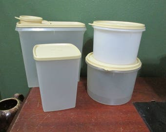 Tupperware Containers with Matching Beige Lids