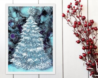 Snow Christmas Tree Printable, Celestial Solstice, Alcohol Ink Painting Print, Christmas Decor Wall Art Instant Download, A4 8x11 9x12 print