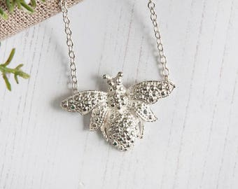 Sterling silver bumble bee necklace Save our Bees UK Hallmarked