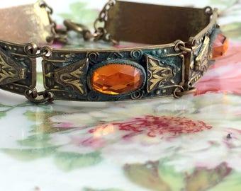 Vintage Art Deco Topaz Amber Glass Brass Link Bracelet