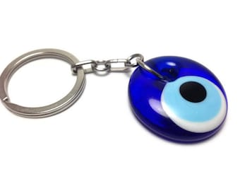 Evil eye keyring - Keychain - Glass - Greek mati - Stainless steel - Car/home gift