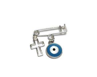 Lucky Evil Eye cross Safety Pin - Baby protection - New mommy - Baby shower - baptism - birth announcement - stroller - baby gift