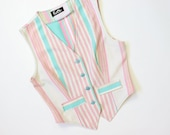 70s Mod PASTEL Striped Vest Fitted Sleeveless Blazer Jacket Waistcoat 1970s Shirt Top Blouse 1960s Tailored 60s School Girl Fairy Kei Small
