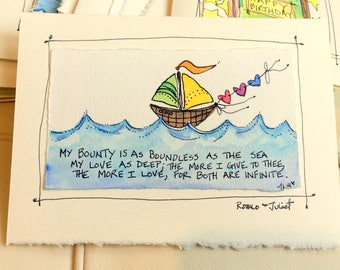 "Shakespeare ""My Bounty Is As Boundless As The Sea My Love As Deep..."" Watercolor Original Strathmore Card 5"" x 6 7/8"" Blank  betrueoriginals"