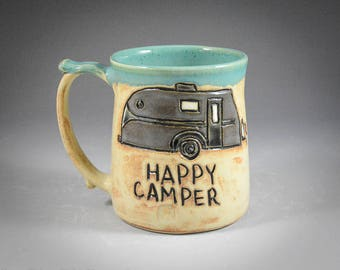 Wheel Thrown Hand Carved Gray Happy Camper Mug in Light Shino and Antique Jade Glazes