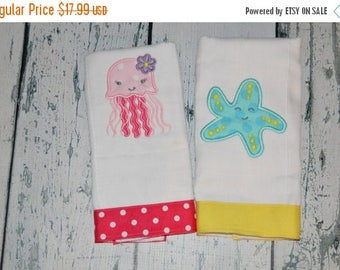 ON SALE Personalized Under Sea Burp Cloth Set of 2 - Jellyfish Girl  and Starfish