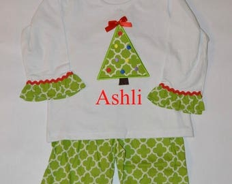 ON SALE SALE  Personalized Christmas Tree Outfit 3T-  Holiday Shirt and Ruffle Pant Set
