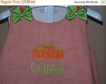ON SALE Personalized Pumpkin Appliqued Dress A-Line  Jumper