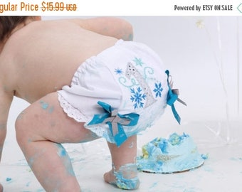 ON SALE Personalized Winter Birthday Bloomers Snowflake Monogram diaper Cover