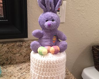 Easter Toilet Paper Cover, Purple Bunny  Toilet Paper Roll Cover, Easter Bathroom Decor, Easter Bunny Toilet Paper Cover READY TO SHIP