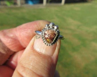 SPOT of SPECIAL SENSABILITY - Sterling Silver Mexican Jelly Fire Opal Ring - Size 8 1/4 - Free Resizing