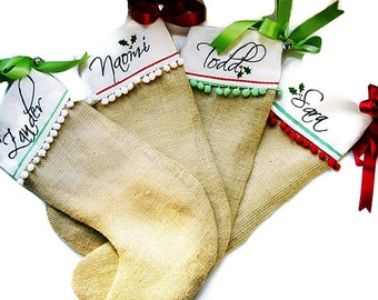 Personalized Christmas Stockings Hand Embroidered Burlap -Family Pack -  Set of Four